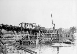 Johnson Street Bridge under construction, form work, West abutment