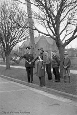 School Patrol, Chief Heatley, in front of [old] Victoria High School