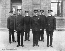 Victoria Police Department members.  Chief John M. Langley at centre, Deputy George Perdue 3rd fr...