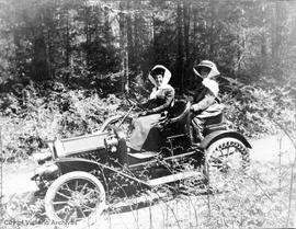 Cecilia Bullen (nee Helmcken) with Eleanor Hannington driving a Buick auto