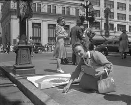 "War effort.  ""Rally Round the Roundels"" appeal Mrs. C.R. Slemon on the corner of Dougla..."