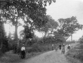 Clara Elworthy with children on a country road