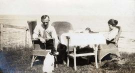 Canadian Government Quarantine Station, William Head, BC. Tea in the garden. Arthur & Cis Lee