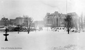 Empress Hotel in the snow
