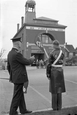 School Patrol in front of [old] Victoria High School, Chief Heatly