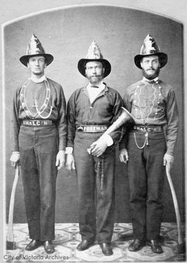 Victoria Volunteer Fire Brigade - Joe Wriglesworth (1862), Edward Ferns (1864) and William Reynol...