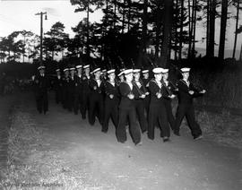 Sailors marching on Esquimalt Road near Naden
