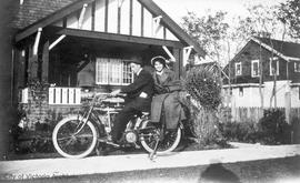 William J. and Agnes M. Stamford on an Indian Motorbike in front of 1328 Clover Avenue