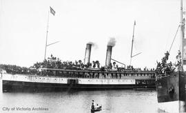 "S.S. ""Islander"" first trip to the Klondike loaded with gold-seekers"