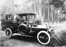 Harry Dallas Helmcken's Pierce-Arrow in Beacon Hill Park.  Mr. Ogg, Chauffeur