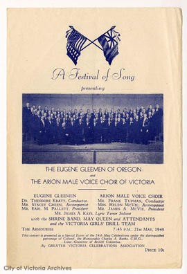 "Cover of programme for ""A Festival of Song"""
