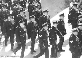 Police parade at Memorial Arena