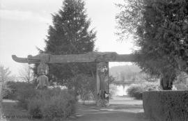 Hatley Park, view of garden with First Nations arch