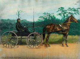 "Tinted print of Lim Bang in a carriage pulled by his horse ""Uncle Dick"""