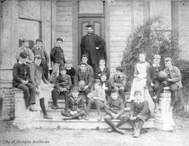 Collegiate School, when it was located in Esquimalt for a brief period. Pupils include G. Ward, B...