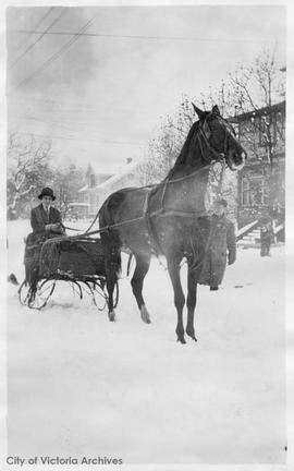 Lucy Little in a horse-drawn sleigh during the 'Great Snow' of 1916