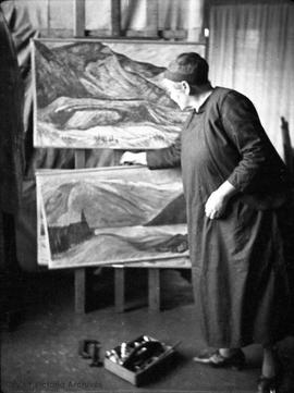 Emily Carr with paintings in her studio at 646 Simcoe Street