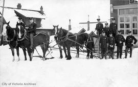 "Victoria Fire Department members outside the Yates Street Fire Hall (No. 2) during the ""Grea..."