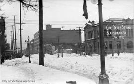 Corner of Yates Street and Blanshard Street during the 'Great Snow'