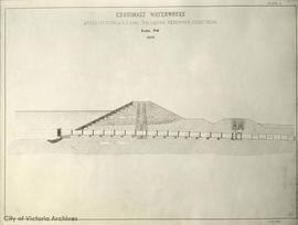 Esquimalt Water Works, cross-section of S.E. dam, balancing reservoir, Goldstream