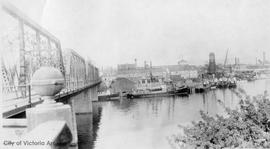 Whaling ships docked beside the Point Ellice Bridge