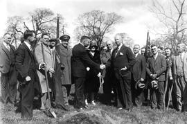 Tree planting ceremony with Sir Arthur Currie in Mayor's Grove, Beacon Hill Park