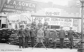 "World War I vets selling Victory Bonds at the ""Dug Out"", NE corner of Fort Street and G..."
