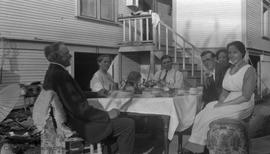 Henderson family at supper outside