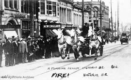 "Victoria Fire Department racing along Government Street (staged event) Morning Alarm ""Fire!&..."