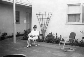Mary Foster on the patio of Major Manor (Oregon or California?)