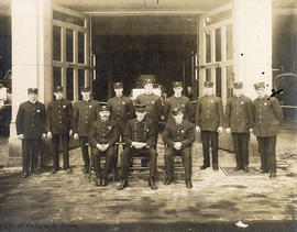 Victoria Fire Department hook and ladder crew : Back row L to R: W. Christie, H. Cavanaugh, C. Ga...