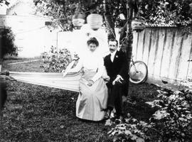 Mr. and Mrs. James McLaren Muirhead sitting in hammock