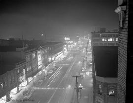 Douglas Street at night.  Looking north from Fort Street